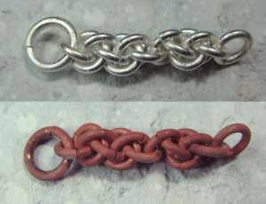 Sample sterling chain, and the same chain with the dreaded copper flashing...