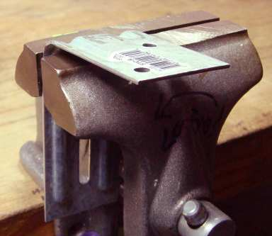 Truss clip in vise.