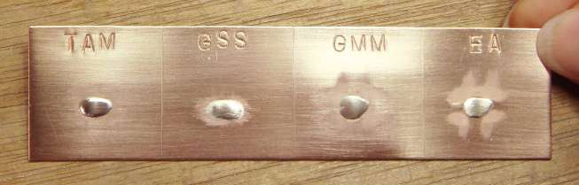 Finishing stone test strip after brass brushing with soapy water. Final grits: TAM ~800, GSS 800, GMM 1200, EA 800.